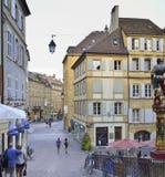 De stad van Neuchâtel, Zwitserland Stock Afbeelding