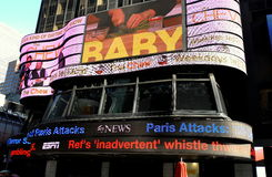 De Stad van New York: ABC-TV Elektronisch kruip Nieuws Royalty-vrije Stock Fotografie