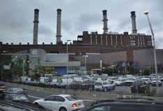 De Stad van New York, 2 augustus: Industrieel platform van Manhattan in New York Royalty-vrije Stock Foto