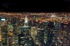 De stad van New York bij nacht Stock Fotografie
