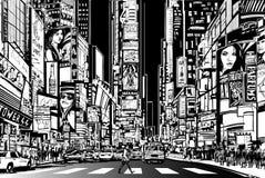 De stad van New York bij nacht royalty-vrije illustratie