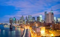 De Stad van New York bij Nacht Royalty-vrije Stock Afbeeldingen