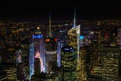 De stad van New York bij nacht van Empire State Building Royalty-vrije Stock Afbeeldingen