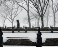 De Stad van New York, 1/23/16: Central Park dat in zware sneeuw tijdens de Winteronweer Jonas wordt behandeld Royalty-vrije Stock Fotografie