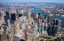 De Stad van New York - de de Hemelmening Van de binnenstad van Manhattan stock foto's