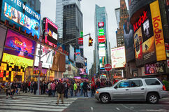 De stad van New York, de V.S. - 21,2014 Juli: The Times-Vierkant bij avond i Royalty-vrije Stock Foto's