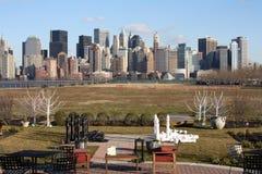 De Stad van New York en Schaakstukken Royalty-vrije Stock Foto
