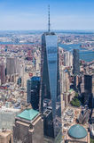 De Stad van New York - Freedom Tower-Hemelmening stock fotografie