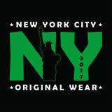 De Stad van New York, het Standbeeld van Vrijheidsdruk Moderne stedelijke grafisch voor t-shirt Origineel klerenontwerp Kledingst stock illustratie