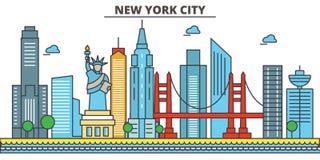 De Stad van New York, New York De Horizon van de stad stock illustratie