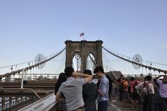De Stad van New York, 3 Juli: De Bruggang van Brooklyn over de Rivier van het Oosten van Manhattan van de Stad van New York in Ve Royalty-vrije Stock Foto's