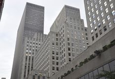 De Stad van New York, 2 Juli: De details van Rockefellerwolkenkrabbers in Manhattan van de Stad van New York in Verenigde Staten Royalty-vrije Stock Foto's