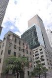 De Stad van New York, 2 Juli: De details van Rockefellerwolkenkrabbers in Manhattan van de Stad van New York in Verenigde Staten Stock Foto's