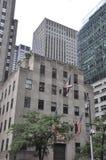De Stad van New York, 2 Juli: De details van Rockefellerwolkenkrabbers in Manhattan van de Stad van New York in Verenigde Staten Royalty-vrije Stock Fotografie