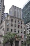 De Stad van New York, 2 Juli: De details van Rockefellerwolkenkrabbers in Manhattan van de Stad van New York in Verenigde Staten Royalty-vrije Stock Foto