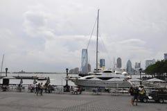 De Stad van New York, 2 Juli: Het Panorama van New Jersey van Brookfield Place Waterkant van de Stad van New York in Verenigde St royalty-vrije stock afbeelding