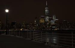 De Stad van New York Manhattam nacht Stock Afbeelding
