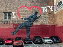De Stad van New York, Manhattan, Verenigde Staten - Augustus, de graffiti van 2018, houd ik van NY royalty-vrije stock foto