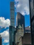 De Stad van New York, Manhattan, Verenigde Staten - Juli, 2018 straten, de bouw van Manhattan stock afbeelding