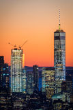De STAD van NEW YORK, 5 November, 2016: Freedom Tower Één World Trade Center samen met Twee World Trade Center Stock Afbeeldingen
