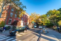 DE STAD VAN NEW YORK - SEPTEMBER 2015: Stadsgebouwen op mooie su Royalty-vrije Stock Foto