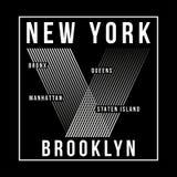 De Stad van New York, de typografie van Brooklyn voor t-shirtdruk T-shirtgrafiek royalty-vrije illustratie