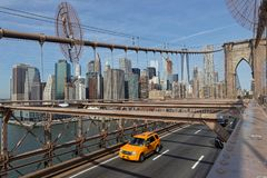 De STAD van NEW YORK, de V.S., 11 September, 2017: De Brug van Brooklyn Br Royalty-vrije Stock Afbeelding