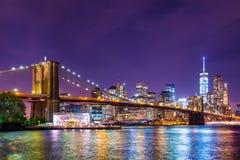 De Stad van New York van de Brug van Brooklyn Royalty-vrije Stock Afbeeldingen