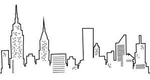 De Stad van New York van het beeldverhaal Stock Afbeeldingen