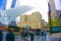 De Stad van New York, de Verenigde Staten van Amerika - Mei 01.2016: Oculus in de Hub van het World Trade Centervervoer Stock Foto's