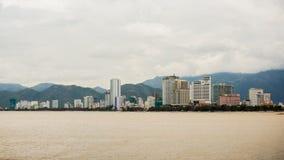 De stad van Nhatrang vietnam Timelapse Stock Foto
