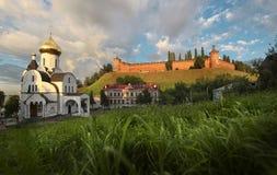De stad van Nizhnynovgorod, Rusland Mooi panorama van stad Royalty-vrije Stock Afbeeldingen