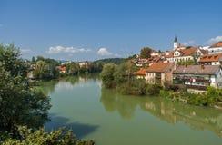 De stad van Novomesto, Slovenië Stock Foto