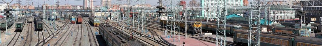 De stad van Novosibirsk. Het panorama van de spoorweg Stock Foto