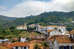 De Stad van Ouropreto en Merces de Cima Church - Ouro Preto, Minas Gerais, Brazilië Stock Afbeelding