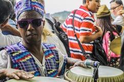 De Stad van Panama, Panama, 15 Augustus, 2015 Close-up van Afrikaans-Amerikaanse musicus stock afbeeldingen