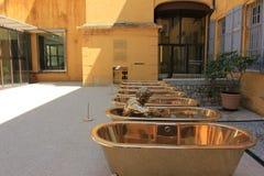 De stad van parfum - de binnenplaats van het parfummuseum, Grasse, Frankrijk royalty-vrije stock fotografie