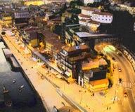 De stad van Porto De rivier van Douro Ribeira royalty-vrije stock foto