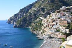 De stad van Positano op de Amalfi kust stock fotografie