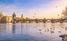 De stad van Praag en Vltava-rivier bij zonsondergang Stock Afbeeldingen