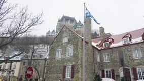 De Stad van Quebec, de mening van Canada Fairmont Le Chateau Frontenac van Rue Notre Dame Royalty-vrije Stock Fotografie