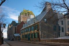 De stad van Quebec in de winter Stock Afbeelding