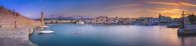 De stad van Rethymno bij het eiland van Kreta in Griekenland stock fotografie
