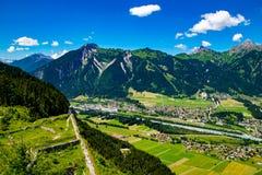 De stad van Reutte in Tirol royalty-vrije stock fotografie