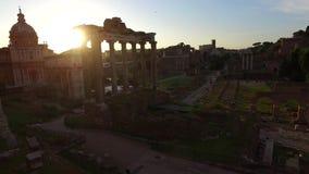 De stad van Rome bij zonsopgang Italië stock videobeelden