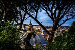 De Stad van Rome door de Bomen Stock Fotografie
