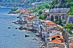De stad van Scilla in de Provincie van Reggio Calabrië, Italië stock fotografie