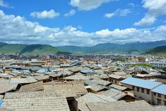 De stad van Shangri-Lazhongdian, Yunnan-provincie, China Royalty-vrije Stock Foto's