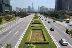De stad van Shenzhen - hoofdweg Stock Foto's