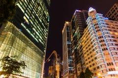 De Stad van Singapore bij Nacht Royalty-vrije Stock Foto